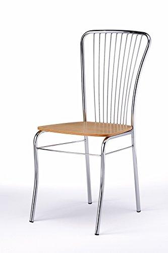 Composad Sedia Irina di design in metallo cromata e seduta faggio ...