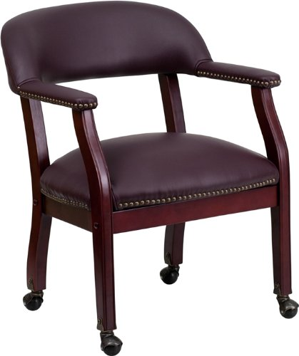 Mobile Luxurious Conference Guest Seating Reception Chair in Burgundy Top Grain Italian Leather - Side Chair