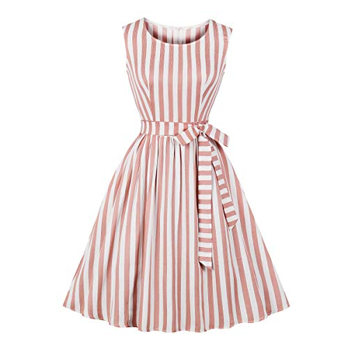 - Wellwits Women's Coral Pink Stripes Pocket Bridesmaid Vintage Dress with Tie 2XL