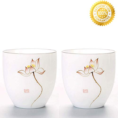 Chinese Tea Cup, QMFIVE Hand Painted Ceramic Tea Cup 2pcs -