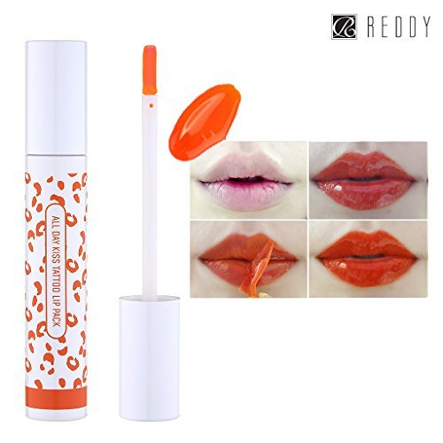 [REDDY] All Day Kiss Tattoo Lip Pack 10g, Peel-Off Colored 24 Hours Lasting Lip Stain, Made in Korea (Some Orange)