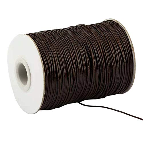 Yzsfirm 1.5mm 175 Yards Jewelry Making Beading and Crafting Macrame Dark Brown Waxed Cord Thread for Braided Bracelet DIY Making