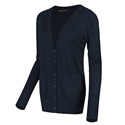 Urban CoCo Women's Long Sleeve Button Down Basic Cardigan Sweater at Women's Clothing store