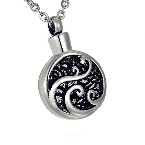 ZARABE Cremation Jewelry Round Black Grease Vines Pattern Memorial Urn Necklace Keepsake Ash Holder
