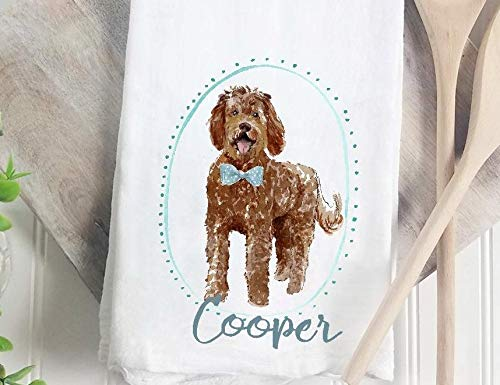 (Custom boy Chocolate Goldendoodle flour sack tea towel)