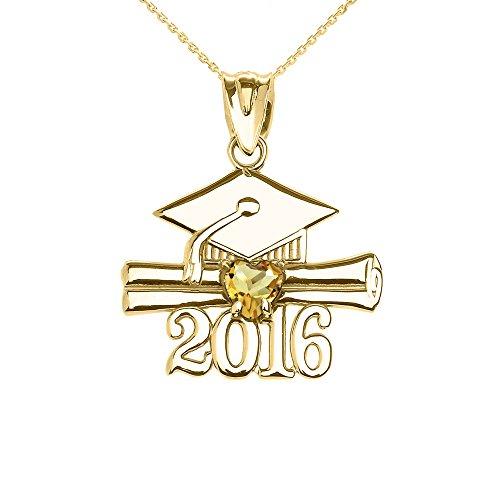 Collier Femme Pendentif 14 Ct Or Jaune Cœur Novembre Pierre De Naissance Jaune Oxyde De Zirconium Classe De 2016 Graduation (Livré avec une 45cm Chaîne)