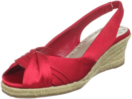Silk Espadrille (Bella Vita Women's Sangria Open-Toe Espadrille,Red Silk,6 B US)