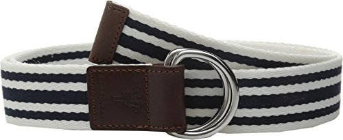 Ladies D-ring Belt (Cole Haan Women's 38mm D-Ring Webbing Pinch Belt, Navy/White with Woodbury,)