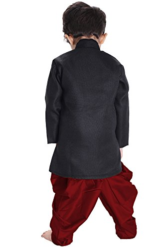 JBN Creation Boys' Black Cotton Blend Sherwani Style Kurta Set(VASBSW120MA_30) by VASTRAMAY (Image #3)