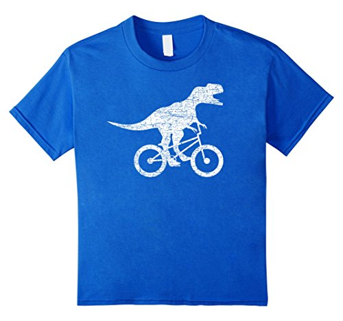 Kids Funny BMX Shirt: Dinosaur On Bike BMX Rider Biker T-...