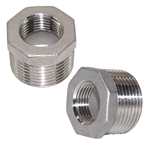 "Joywayus 2Pcs Stainless Steel Hex Head Bushing Reducer Pipe Fitting 1"" NPT Male × 1/2"" NPT Female"
