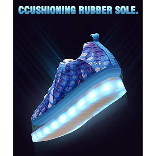 Stringate Uomo Testa Scarpe Donna da Illuminate Maglia Basse Scarpe Scarpe Scarpe Rotonda Blu LED Scarpe Camuffamento Sportive Elegante Moda w5qpX8C6