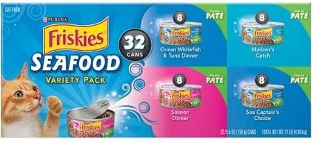 Friskies Seafood Variety Pack Cat Food 32-5.5 oz. Cans includes 8 each Ocean Whitefish Tuna, Mariner s Catch, Salmon Dinner, and Sea Captain s Choice 1 Box