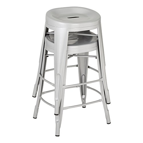 Fat Catalog ALT-XUW-1001SL Modern Industrial Metal Bar Stool w/ Curved Seat, 24'' Height, 14.2'' Wide, 17.32'' Length, Silver (Pack of 2) by Fat Catalog