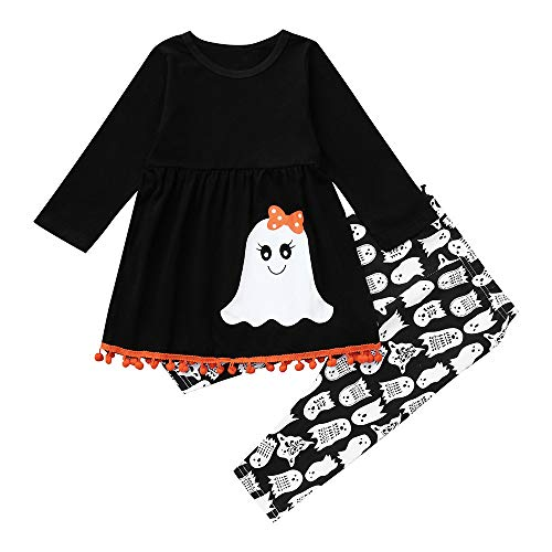 Jchen(TM) Toddler Baby Kids Little Girl 2 Pcs Halloween Sets Outfits Devil Print Long Sleeve Tops + Long Pants for 1-6 Y (Age: 5-6 Years -