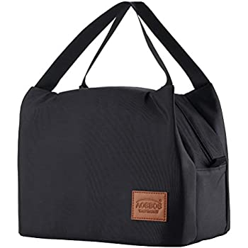 Aosbos Lunch Bags for Women Insulated Lunchbox Tote Bag Food Cooler Box Gift Adult Men Kids (Black)