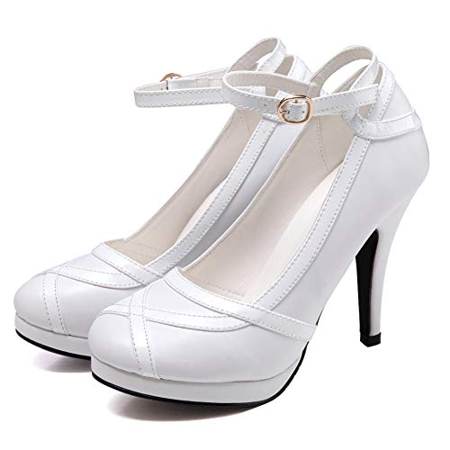 getmorebeauty Women's Vintage Retro Strappy White Wedding Bridal Shoes Dress High Heels 7 B(M) US