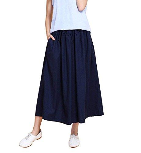 Vintage Baggy Scuro Monocromo Palazzo Accogliente Culotte Ragazza Donna Vita Pantaloni Fashion Estivi Blu Libero Elastica Tempo Eleganti Basic Sciolto Gonna 8RqzwnH6