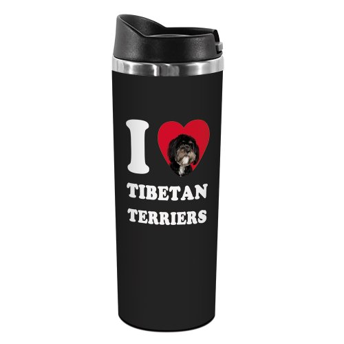 Tree-Free Greetings TT42133 I Heart Tibetan Terriers 18-8 Double Wall Stainless Artful Tumbler, 14-Ounce, Black and White