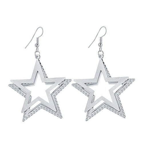 Double Star Dangle Earrings - IDB Delicate Dangle Double Five-Pointed Star Drop Hook Earrings - Available in Silver and Gold Tones (Silver Tone)
