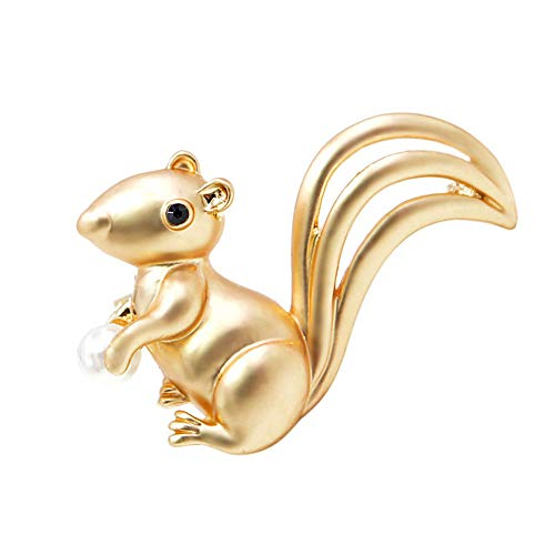 CINDY XIANG Cute Small Squirrel Brooches for Women Animal Jewelry Men and Kids Jewelry Brooch Pin Matte Style-Gold