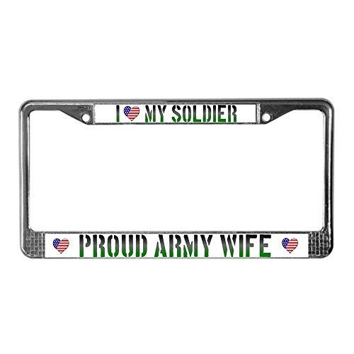 CafePress - Proud Army Wife L P F - Chrome License Plate Frame, License Tag Holder