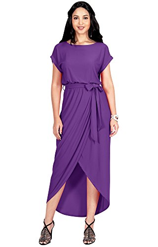 Semi Formal Themes (KOH KOH Womens Long Crewneck Casual Short Cap Sleeve Sexy Slit Split Pencil Skirt Beach Spring Summer Gown Gowns Solid Stretchy Modest Maxi Midi Dress Dresses, Violet Purple L)