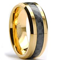 Metal Masters Co.® 8MM Mens Gold Plated Tungsten Carbide Ring Wedding Band W/ Black Carbon Fiber Inaly Sizes 7 to 15