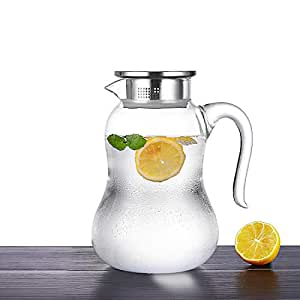 ONEISALL Clear Glass Heat Resistant Teapot with Stainless Steel lid Glass Pitcher, Handcraft Water Jug Flower Teapot Coffee Pot Glass Kettle GYBL695(Clear 1500ML)