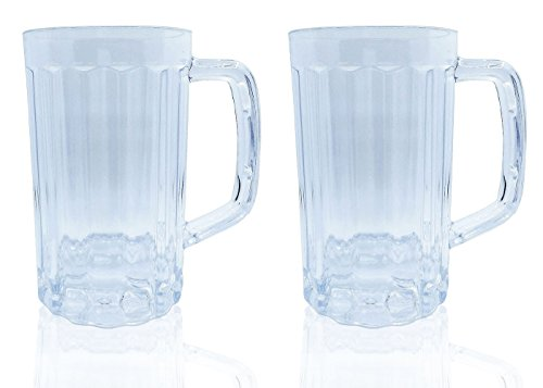 Plastic Beer Glasses Clear Drink Party Cups Picnic Drinking Mug Tankards, Great as a Beer Gift, Pack of 2