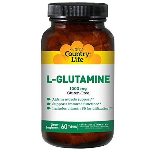 Country Life L-Glutamine, 1000 mg with B-6-60 Tablets