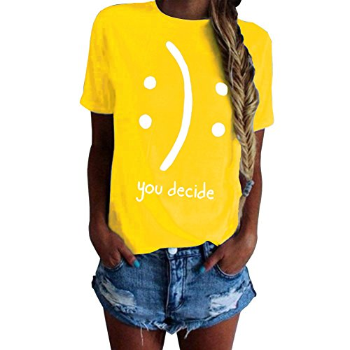 Hoyod Womens Tops Funny Juniors Tees Short Sleeve Graphic Printed Summer Tshirt Yellow XL