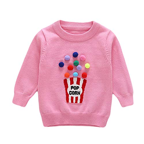 Baby Kid Top Sweater,Fineser Toddler Baby Boys Girls Kid Long Sleeves POP Corn Letter Print Sweater Sweatshirt Blouse Tops (Pink, 4Year(110)) for $<!--$8.75-->