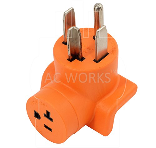 AC WORKS [AD1430520] Dryer Outlet Adapter NEMA 14-30P 30Amp Dryer Outlet to Household 15/20Amp 125Volt T Blade Female Connector by AC WORKS (Image #2)