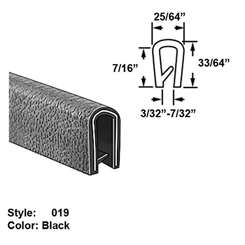 Heavy Duty Vinyl Plastic U-Channel Push-On Trim, Style 019 - Ht. 33/64'' x Wd. 25/64'' - Black - 25 ft long by Gordon Glass Co.