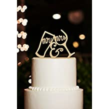 Mr and Mrs Cake Toppers Funny Drinking Cup Rustic Wooden Wedding Cake Toppers¡­