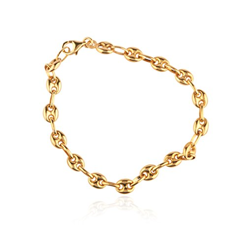 JOTW 14K Yellow Gold 4mm Puff Mariner Bracelet, 7 Inches