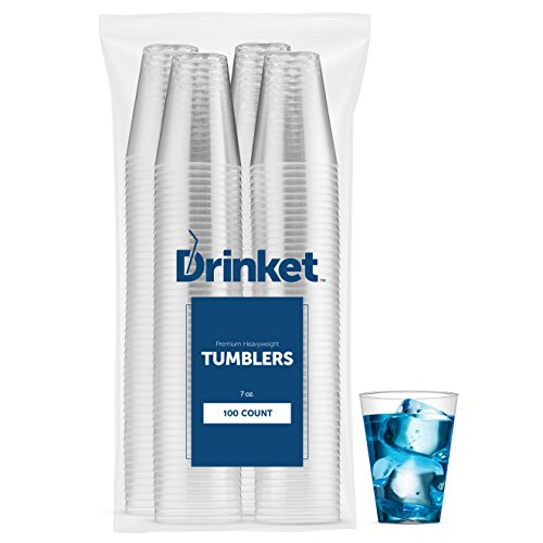 DRINKET Heavy Duty Crystal Clear Glasses Hard Plastic Cup 7-oz Old Fashioned Tumblers 100 Count Bulk Pack Disposable Reusable Essential For Party Wedding Everyday Drinking Cups Wine Water (Tumbler Cups Bulk)