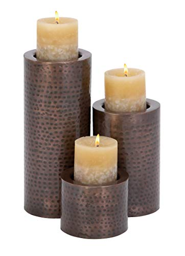 Deco 79 Metal Candle Holder, 11 by 7 by 4-Inch, Black, Set of 3
