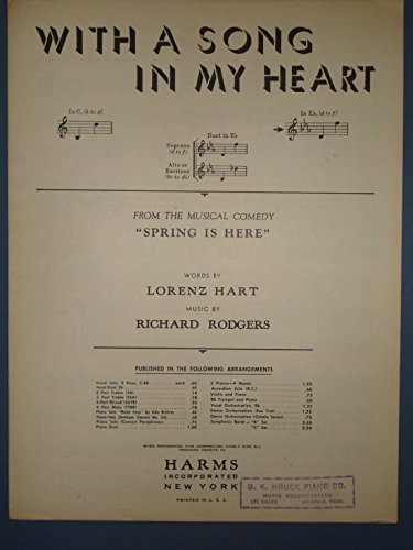 Vintage Sheet Music: WITH A SONG IN MY HEART, In Eb (d to f), from the Musical Comedy, SPRING IS HERE - Antique Vintage Sheet Music