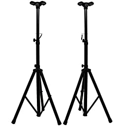 ASC (2) Pro Audio Mobile DJ PA Speaker Stands 6 Foot Adjustable Height Tripod with (2) Adapter Brackets