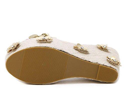 Fleur LINYI Douce Pantoufles Sandales Gold Paillette Femmes Paillette 77atH1