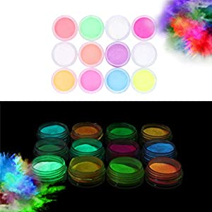 Glow in the Dark Powder –(Pack of 12) Luminous Pigment Powder Fluorescent UV Neon Color Changing luminescent Phosphorescent Thermochromic Dye Dust Glo for Slime Nails Resin Acrylic Paint Ink Non-Toxic