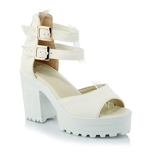 AgooLar Women's Pu Solid Zipper Open Toe High Heels Sandals Beige VexKeRM