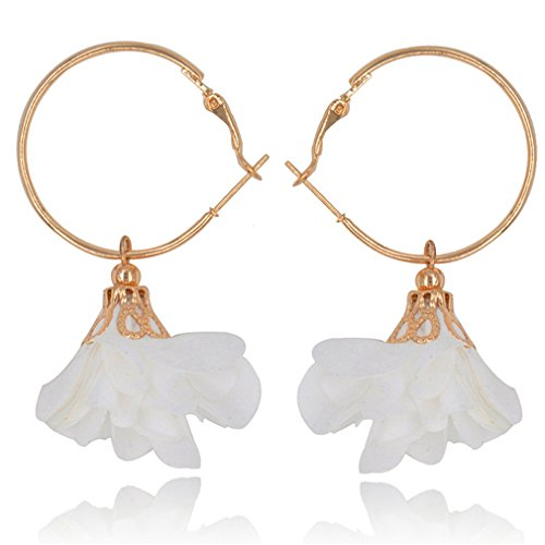 Price comparison product image Golden Circle Yarn Fabric Cloth Flower Handmade Craft Hanging Dangle Drop Earrings For Women Ladies Statement Jewelry Wholesale White