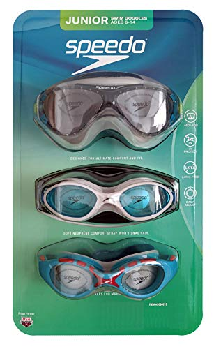 Speedo Junior Swim Goggles for Ages 6-14, 3-Pack (Blue/White/Green)