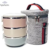 Large 3-Tier Capacity Lunch Box-SpaSens®- Insulated Lunch Box, Stainless Steel With Thermal Bag with Adjustable Shoulder Strap
