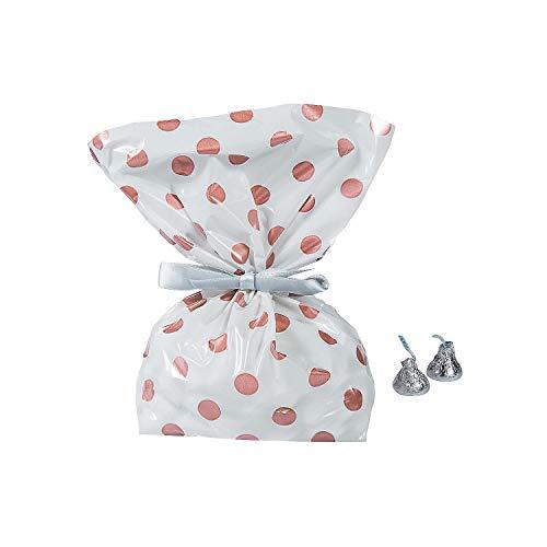 Bags Dots Cello - Fun Express - Rose Gold Polka Dot Cello Bags (dz) for Wedding - Party Supplies - Bags - Cellophane Bags - Wedding - 12 Pieces