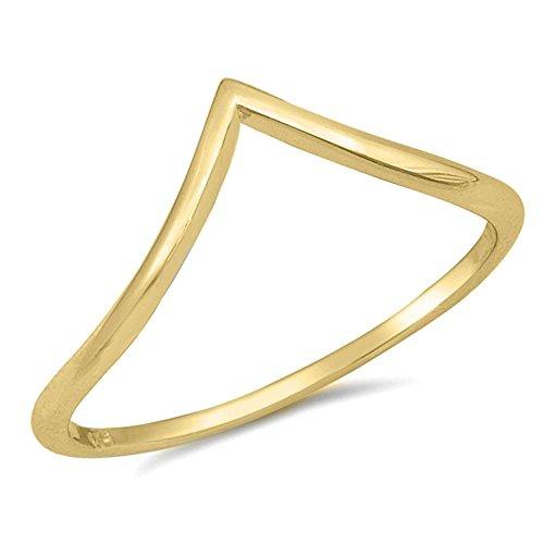 (Solid Plain Yellow Gold V Shape Chevron Thumb .925 Sterling Silver Ring Sizes 10)