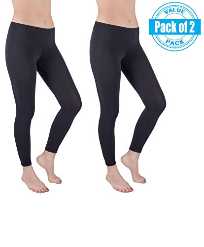 Sexy Basics Womens 2 Pack Stretch Cotton Full Length Footless Legging Tights (L 9-11, BLACK)